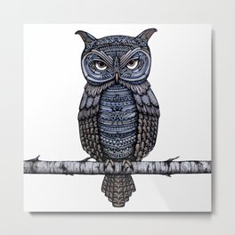 GeoOwl on Birch Branch Metal Print