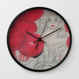 Red Balloon Lady Wall Clock