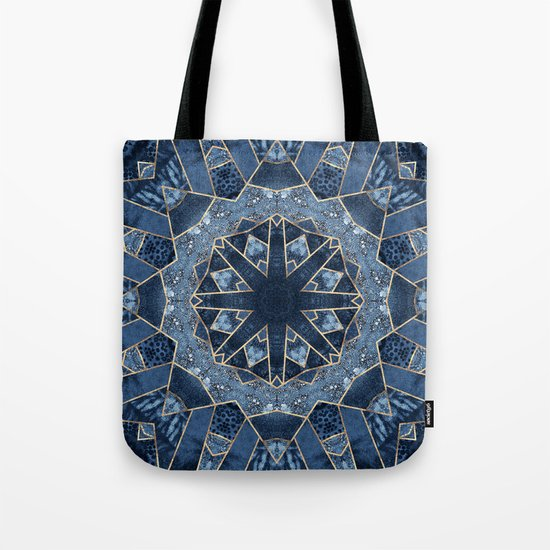 Geometric Blue Mandala Tote Bag