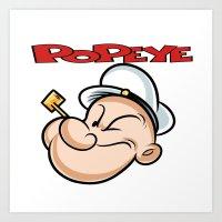 popeye Art Prints featuring popeye by store2u