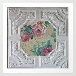 Antique Ceiling Tile * Art tile * Victorian Roses Art Print