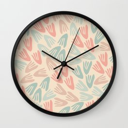 Papier Découpé Modern Abstract Cutout Pattern in Soft Sage Mint Green and Pale Coral on Cream Wall Clock