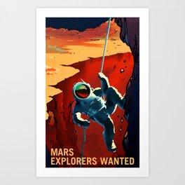 NASA Mars Recruitment Poster - Explorers Wanted Art Print