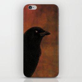 Crow Portrait In Black And Orange iPhone Skin