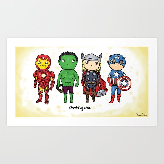 Super Cute Heroes: Avengers! Art Print