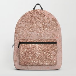 Girly blush coral faux rose gold glitter marble Backpack