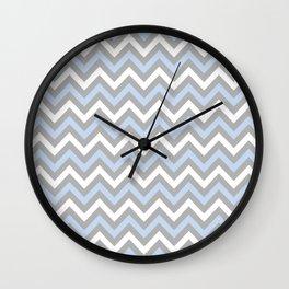 Chevron - light blue and grey Wall Clock