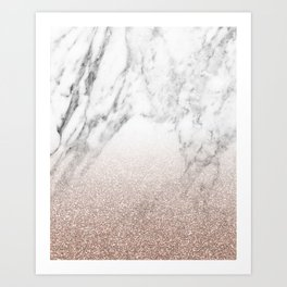 Marble sparkle rose gold Art Print