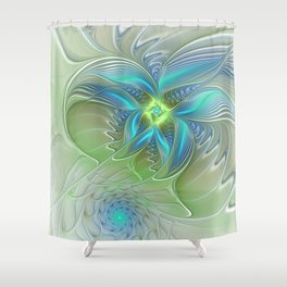 Flying Away, Abstract Shining Fractal Art Shower Curtain