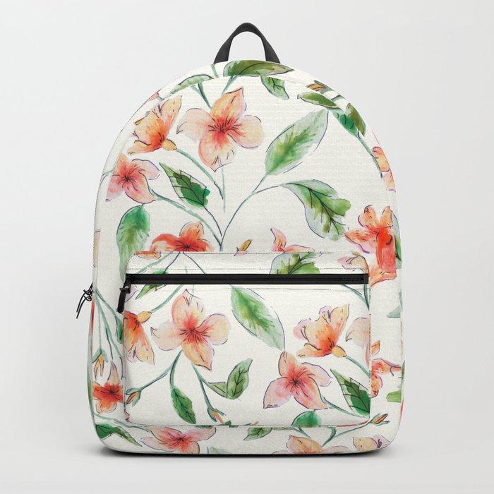 Orange Watercolor Botanical Pattern Backpack