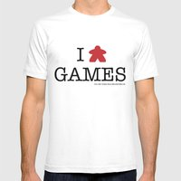 I Meeple Games MEDIUM Mens Fitted Tee White