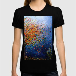 Fall Trees with Leaves Blowing in the Wind by annmariescreations T-shirt