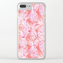 FLESHED OUT Tropical Pink Pineapples Clear iPhone Case