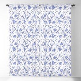 Indigo Floral Toss Blackout Curtain