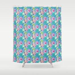 Fractal Swirl Pattern, Turquoise & Fuchsia Pink Shower Curtain