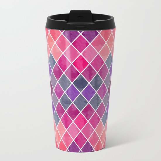 Watercolor Geometric Pattern Metal Travel Mug