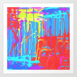 Color pool abstract watercolor painting Art Print