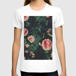 Big Pink Roses and Green Leaves Graphic T-shirt