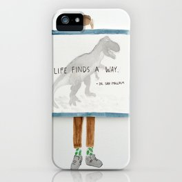 Life Finds a way, Jurassic park print iPhone Case