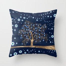 Nazar Charm Tree - Gold on Dark Blue Throw Pillow