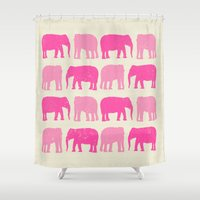 nursery Shower Curtains featuring Pink Elephant Nursery Print by OldRedCanoe