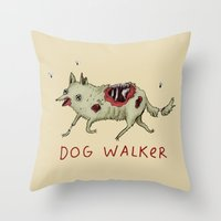kieren walker Throw Pillows featuring Dog Walker by Sophie Corrigan
