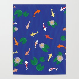 Koi Fish in a Pond Poster