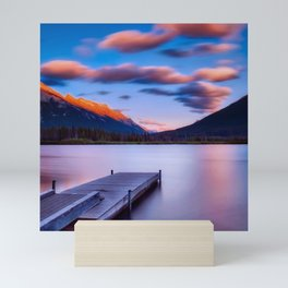 Canada Photography - Dock By The Lake And Beautiful Landscape Mini Art Print