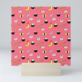 Kawaii Sushi Pattern (pink) Mini Art Print