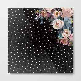 Boho Flowers and Polka Dots on Black Metal Print