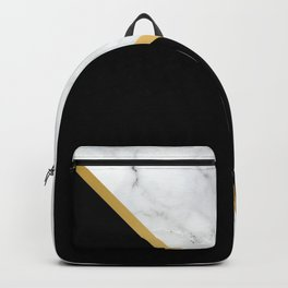 Marble, Black, White, Gold, Abstract Color Block Backpack