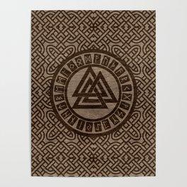 Valknut Symbol and Runes on Celtic Pattern on Wood Poster