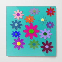 Flower Power - Teal Background - Fun Flowers - 60's Style - Hippie Syle Metal Print
