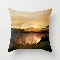 sunrise Throw Pillows featuring Sunrise by Viviana Gonzalez