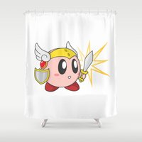 kirby Shower Curtains featuring Valkyrie Kirby by Mel W.