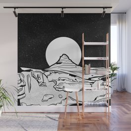 Iceland Mountain Black and white Wall Mural