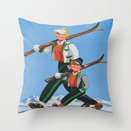 Mom and Son Skiers Vintage Art Throw Pillow