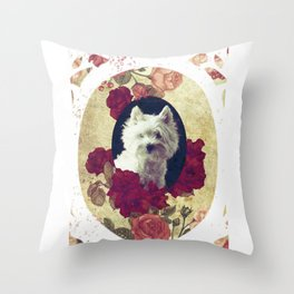 Westie & Roses Vintage Pure Round Frame Throw Pillow