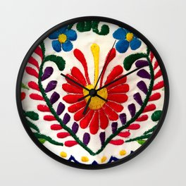 Red Mexican Flower Wall Clock