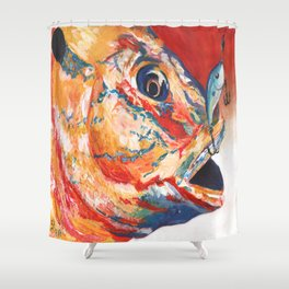 Expressionistic Blue Gill Sport Fish with Lure Shower Curtain