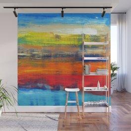 Horizon Blue Orange Red Abstract Art Wall Mural
