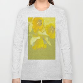 Sign of Spring - Yellow Narcissus on Spring Green Background #decor #society6 #buyart Long Sleeve T-shirt