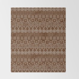 Mudcloth Style 1 in Brown Throw Blanket