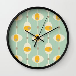 70s Funky Yellow and White Retro Oval Mint Abstract Design Wall Clock