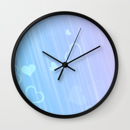 blue pink hearts for like Wall Clock