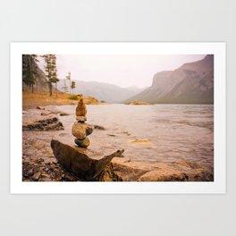 Stone Cairns at Lake Minnewanka Art Print