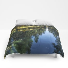 A Watery Avenue of Trees Comforters