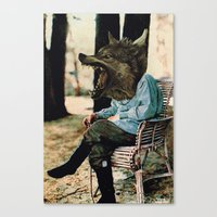 bad wolf Canvas Prints featuring Bad Wolf by A.T. Velazco
