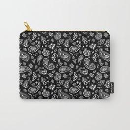 Classic Black OG Handkerchief Paisley Bandana Pattern Carry-All Pouch