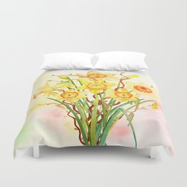 Watercolor Daffodils Yellow Flowers Spring Flowers Duvet Cover